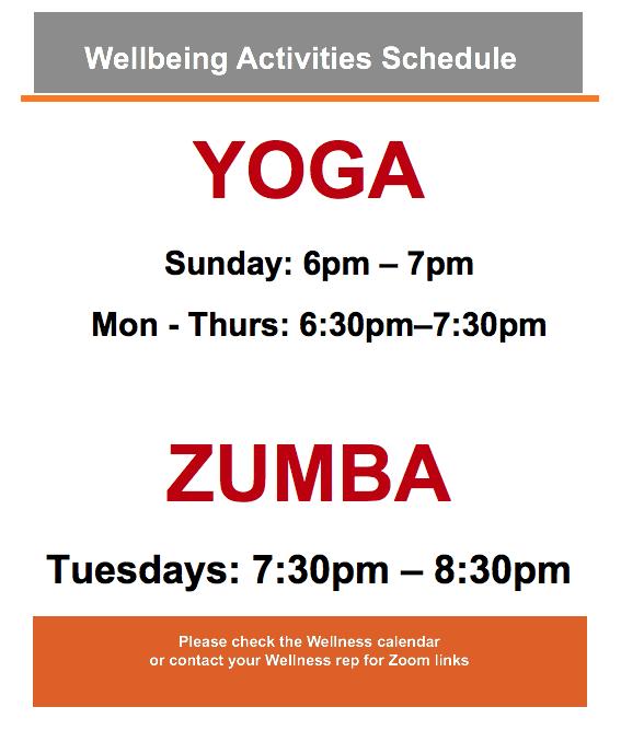 Wellbeing Activities Schedule