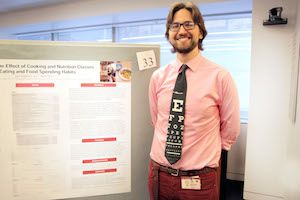 Second-year student Jack Stupinski presents his research on teaching medical students about nutrition during Medical Student Research Day. All photos: Ira Fox